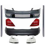 Complete Body Kit Mercedes-Benz S-Class W221 Exhaust Muffler Tips and LED Taillights 2005-2011 (LWB) AMG Design