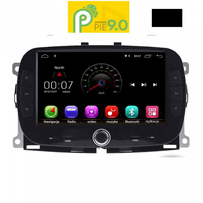 MULTIMEDIA OEM FIAT 500 mod. 2016> ANDROID 9 PIE , 7inch Full HD Touchscreen, Resolution 1024x600pixels, 4×50 WATT