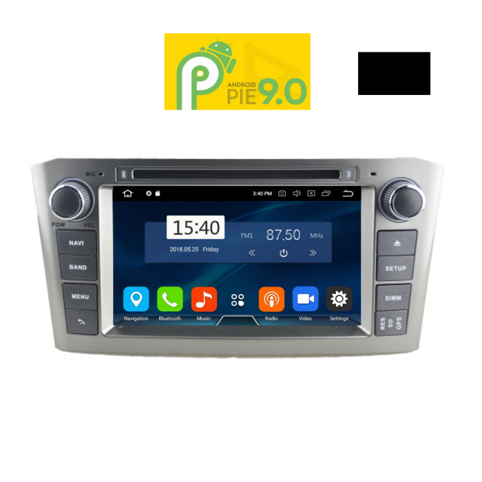 MULTIMEDIA OEM TOYOTA AVENSIS 2003-2009 ANDROID 9 PIE , 7inch Full HD Touchscreen, Resolution 1024x600pixels, 4×50 WATT, 2GB RAM