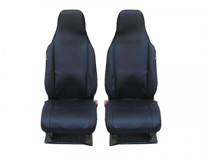 SHOPBATTERY Καλύμματα Υφασμάτινα Για Μπροστινά Καθίσματα Toyota Aygo Citroen C1 Peugeot 107 2 Τεμάχια σε Μαύρο