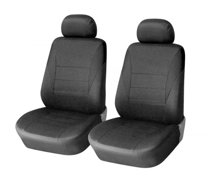 SHOPBATTERY Καλύμματα Αυτοκινήτου Πολυεστερικό Για Μπροστινά Καθίσματα 2 Τεμάχια σε Μαύρο