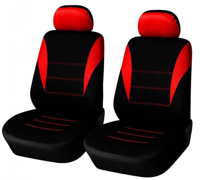 SHOPBATTERY Καλύμματα Αυτοκινήτου Πολυεστερικό Για Μπροστινά Καθίσματα 2 Τεμάχια σε Μαύρο Κόκκινο