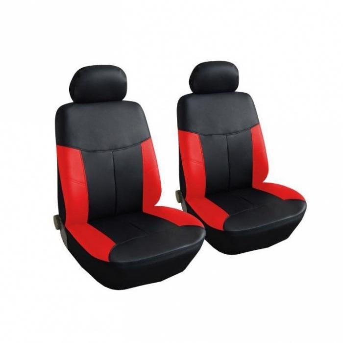 SHOPBATTERY Καλύμματα Αυτοκινήτου Δερματίνη Για Μπροστινά Καθίσματα 2 Τεμάχια σε Μαύρο Κόκκινο