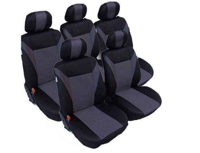 Σετ Καλύμματα Αυτοκινήτου Πολυεστερικό 5 Τεμαχίων Μαύρο με Γκρί για VW TOURAN-SHARAN-FORD GALAXY-CITROEN C8-C4-GRAND PICASSO-PEUGEOT 307SW-806-807